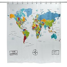 Perfect for those for whom travel and adventure are the norm, this shower curtain is rich with originality and geography.
