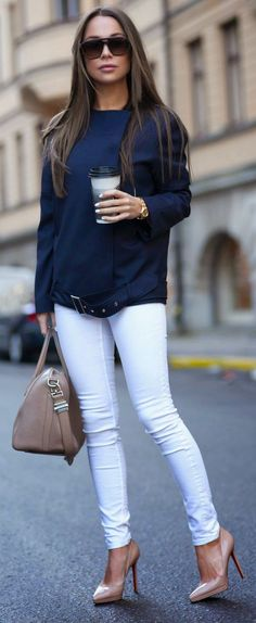 FILIPPA K S/S - Navy Modern Jacket with Skinny Jeans in White and Christian Louboutin / Johanna Olsson
