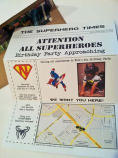 Superhero Birthday Invitation  I like the idea that its a newspaper. Very cool.