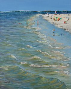 "A Day at the Beach by Inez Hudson Oil ~ 20"" x 16"""