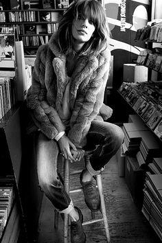 Alexa Chung fur coat boyfriend jeans oxfords