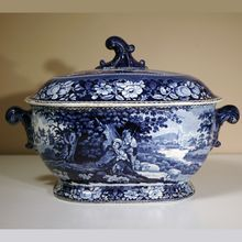 """19th Century Staffordshire Tureen in """"Shelter'd Peasants"""" Pattern"""