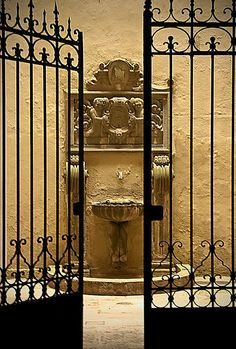 """(Viterbo Fountain, Viterbo province Lazio) Writing Prompt: """"As you approached, the gates opened by themselves. You could hear the fountain water flowing. There was nobody around."""" What happened next? Continue the story."""