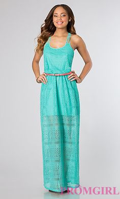 Long Sleeveless Lace Casual Dress at PromGirl.com