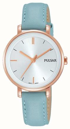 4603c4fe3c47 The Womans Pastel Blue Leather Strap Silver Dial watch has