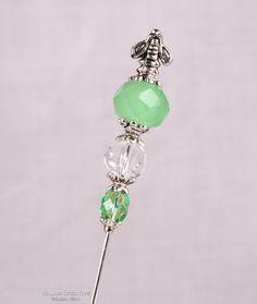 Green Stick Pin, 3 Inch Crystal Hat Pin, Scarf Pin, Hijab Pin KC0335. $5.00, via Etsy.