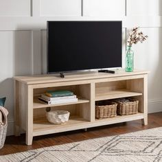 Beachcrest Home Sunbury TV Stand for TVs up to 65 inches Colour: White Oak Bedroom Tv Stand, Tv In Bedroom, Bedroom Ideas, Tv Stand Decor, Diy Tv Stand, Build A Tv Stand, Tv Set Up, Small Tv Stand, Wooden Tv Stands