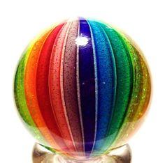 "EDDIE SEESE GLASS 1-3/8"" EXOTIC DICHROIC RAINBOW CLAMBROTH MARBLE"