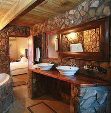 Rustic Decor Bathroom with his and her sinks