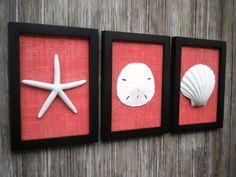 Cottage Chic Set of Beach Wall Art, Sea Shells Home Decor, Beach House Wall Decor, Wall Art, Coastal Decor, BLACK wth CORAL Burlap