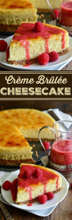 Crème Brûlée Cheesecake with a crunchy signature sugar crust and raspberry…