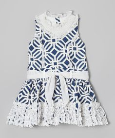 Navy Tile Ruffle Tie-Waist Princess Dress - Toddler & Girls | Daily deals for moms, babies and kids
