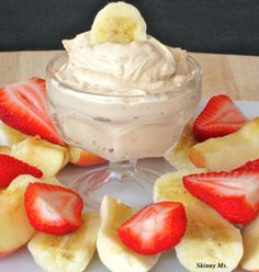 Skinny Peanut Butter-Yogurt Dip. ONLY TWO INGREDIENTS!! A family favorite snack, plus super quick to prepare. Score!!