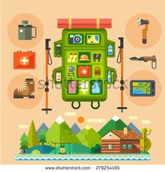 Traveler backpack for a mountains hike. House in the forest. Natural landscape. Essentials far away from civilisation. Vector flat illustration