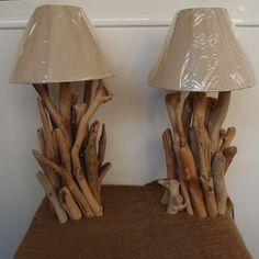 Driftwood lamps diy.Πορτατίφ φωτιστικό θαλασσόξυλα
