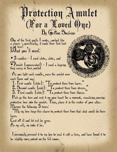 Magick Spells: Protection Amulet (For a Loved One) Witch Spell Book, Witchcraft Spell Books, Magick Spells, Real Spells, Wicca Witchcraft, Wiccan Protection Spells, Spell For Protection, Spells For Love, Protection Symbols