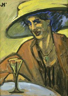 Bildnis einer Dame mit Hut an einem Tisch von John Höxter, um 1910
