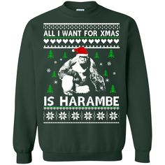 All I Want For Christmas Is Harambe Sweater Shirt sold by iFrogtees
