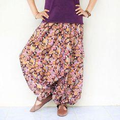 purple flowers print Thai batik  Hand made harem by meatballtheory, $25.00