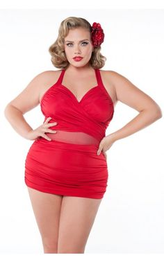Sand and Glam Illusion Swimsuit in Red - Plus Size