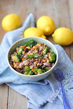 Summer Quinoa Salad  (quinoa, red onion, pepper, broccoli, corn, can of black beans, lemon(2), balsamic vinegar, evoo, pepper flakes, basil)