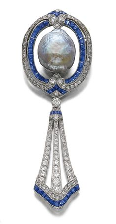 SAPPHIRE, DIAMOND AND CULTURED PEARL BROOCH, CIRCA 1910. Jewelers of this time period created such intricate pieces!