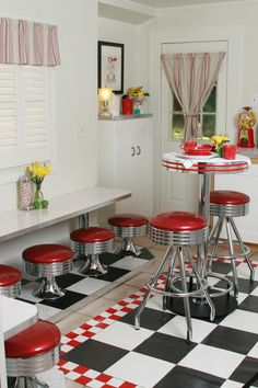On Pinterest Retro Kitchens Diner Kitchen And Rockabilly Style