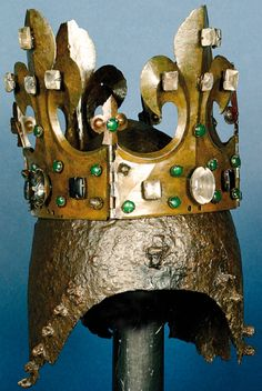 Probably the crown and helmet of King Casimir the Great of Poland, given as a votive offering to the church at Sandomirz, with what is believed by some researchers to be the insignia of Grand Duke Vytautas, before 1370