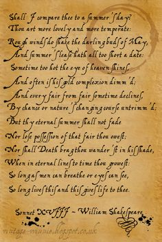 William Shakespeare - Shall I compare thee ..first ever poem in AL anthology..memories of good times.