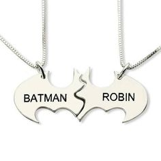 Personalized Batman Name Necklace Best Bitches Silver Engraved Name Necklace Set You Are My Superhero Best Friendship Jewelry Love Jewelry