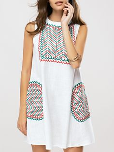 Ethnic Style Embroidered Shift Dress ON SALE!