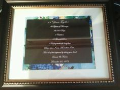 My parents 40th wedding anniversary gift I made for them... 44 years together 40 years of marriage 16,060 days  3 children 10 grandchildren 1 unforgettable life long love Better than I was, More than I am, and all of this happened by taking your hand. Dennis & Karen December 23, 1972
