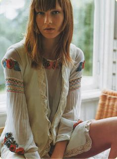 Smocked and embroidered top....