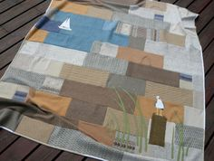 Felted Wool Sweater Blanket with Applique