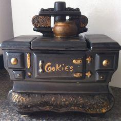 McCoy Black Stove Gold Accents Cookie Jar Vintage Ceramics