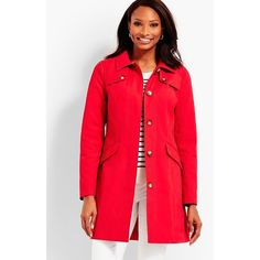 Talbots Women's Classic Trench Coat ($189) ❤ liked on Polyvore featuring outerwear, coats, poppy red, red trench coat, red trenchcoat, collar coat, red coat and fur-lined coats