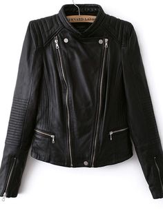 Women's Zip Cuff PU Jacket Two Color on buytrends.com