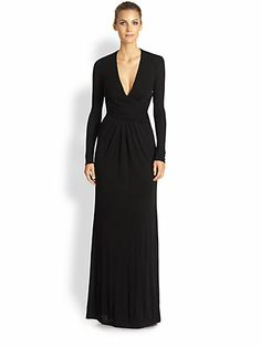 ISSA Deep V-Neck Jersey Gown. Gently-gathered details combine with a deep V-neck, lending this floor-length silhouette a sophisticated, modern allure. Issa Dresses, Elie Saab Dresses, Ladies Day Dresses, Dresses For Work, Saks Fifth Avenue, Evening Gowns, V Neck, Deep, Baileys