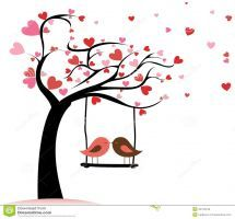 Illustration about Two birds in love on abstract tree with heart leaf. Illustration of painting, sketching, symbol - 32725246 Vogel Clipart, Bird Clipart, Tree Clipart, Clipart Images, Valentines Bricolage, Valentines Diy, Art Amour, Diy Wall Painting, Love Posters