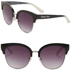 Circus By Sam Edelman 60MM Cat Eye Sunglasses ($38) ❤ liked on Polyvore featuring accessories, eyewear, sunglasses, black, cat eye sunnies, cat-eye glasses, cat eye glasses, cat eye sunglasses and circus by sam edelman