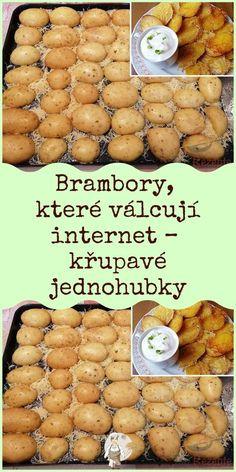 Brambory, které válcují internet – křupavé jednohubky Potato Dishes, Cooking Tips, Cake Recipes, Good Food, Food And Drink, Pizza, Potatoes, Vegetarian, Healthy Recipes