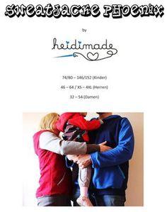 Freebook Sweatjacke sowohl für Kinder 74 - 146, für Damen 42 - 54 als auch für Herren XS-XL