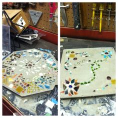 Stepping stones: Out of homemade cement. Put into a flat mold. Take broken glass, beads and other craft materials. Inserts lightly into the top of the cement. Add to your wonderful garden or front steps! Mirror Mosaic, Mirror Tiles, Mosaic Art, Craft Projects, Projects To Try, Craft Ideas, Broken Glass Crafts, Broken Mirror, Daisy Girl Scouts