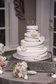 wedding cake - monogram cake topper - grey ribbons - garden roses