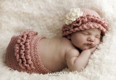 Layers+of+Ruffles+Crochet+Hat+and+Diaper+Cover+by+SunsetCrochet,+$4.99