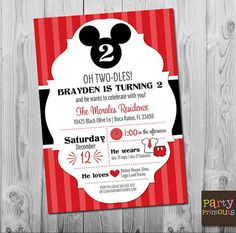 Mickey Mouse Invitation Birthday Oh Twodles 2nd