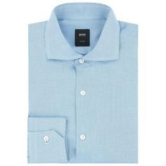 BOSS Micro Grid Textured Cotton Shirt ($220) ❤ liked on Polyvore featuring men's fashion, men's clothing, men's shirts, men's casual shirts, mens slim fit shirts, mens cotton shirts, mens blue shirt, mens print shirts and mens slim fit casual shirts