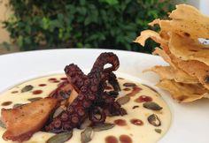 Polpo glassato alla soia con salsa di patate ai semi di zucca | Food Loft - Il sito web ufficiale di Simone Rugiati