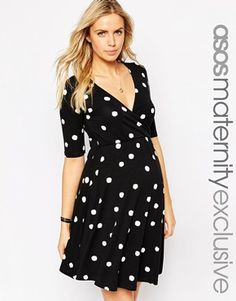 ASOS Maternity NURSING Wrap Skater Dress In Spot Print