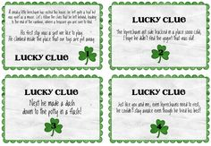 Leprechaun treasure hunt -- printable clues